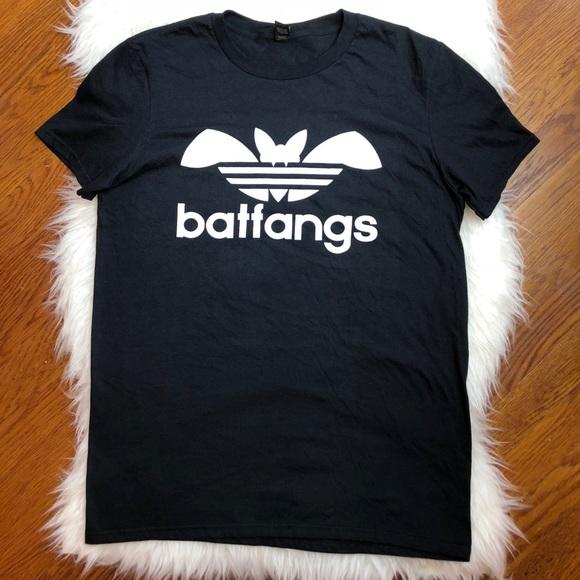 5131b8d2d1854 Anvil Tops - Bat Fangs Band T-Shirt Adidas Parody Graphic Sz M